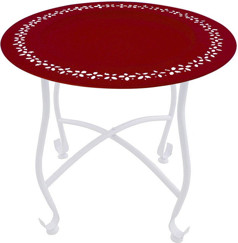 View The Yellow Door Round Morrocan Table with Red Top Metal Side Table(Finish Color - Red) Furniture (The Yellow Door)