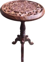 TimberKart Foldable Chilai Work 18'' Solid Wood End Table(Finish Color - Brown With Chilai Work Handicraft)