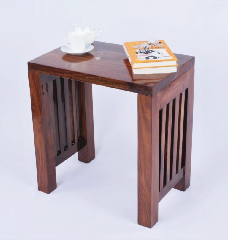 View Mubell Dabisk Medium Solid Wood Side Table(Finish Color - Teak Wood Brown) Furniture (Mubell)