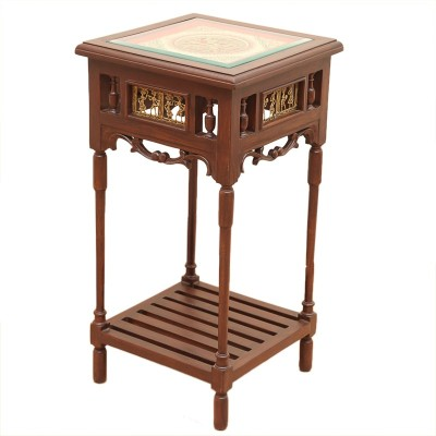 ExclusiveLane Teak Wood Solid Wood End Table(Finish Color - Walnut Brown)