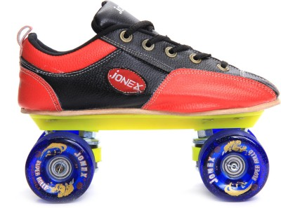 Jonex Super Rollo Quad Roller Skates - Size 5 US(Red, Black)
