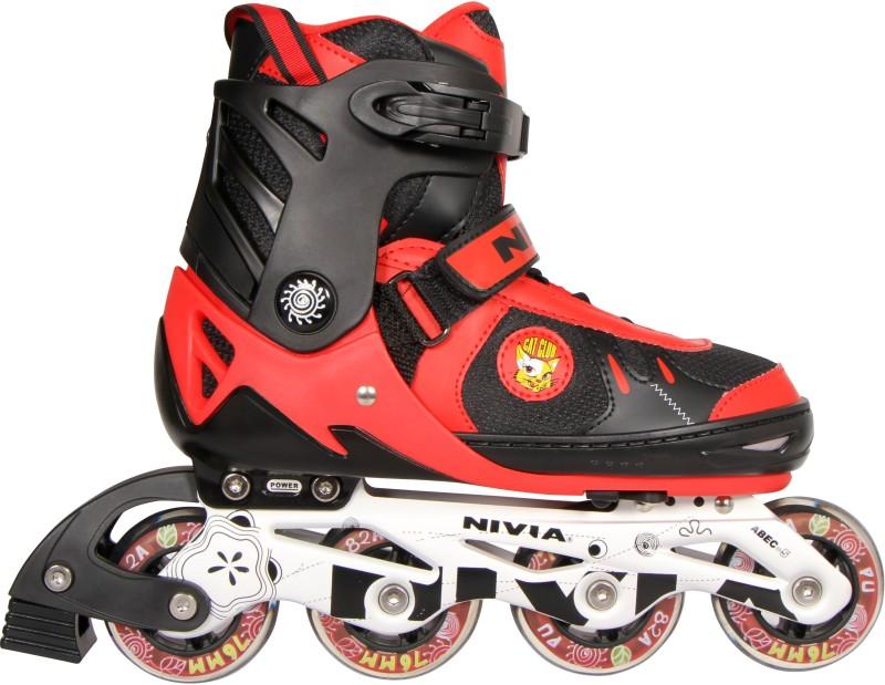 Nivia Cat Club In-line Skates - Size 31-34 Euro(Red, Black)