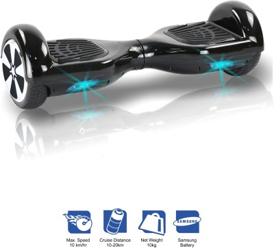 Kiiwi Electric Hands Free 2 Wheels Self Balancing Scooter Black Quad Roller Skates - Size 6 -12 UK(Black)