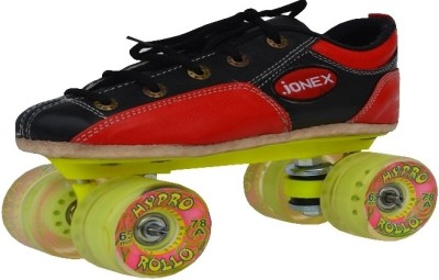 Jonex Rollo Quad Roller Skates - Size 5 US(Black, Red)