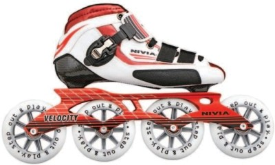 Nivia Velocity In-line Skates - Size 6 UK(White, Red) at flipkart