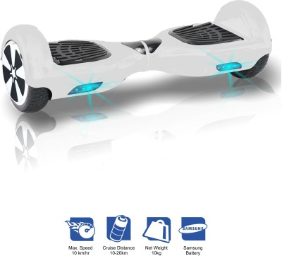 Kiiwi Electric Hands Free 2 Wheels Self Balancing Scooter White Quad Roller Skates - Size 6 -12 UK(White)