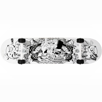 Oxelo Mid-Tattoo-White 31 inch x 7.75 inch Skateboard