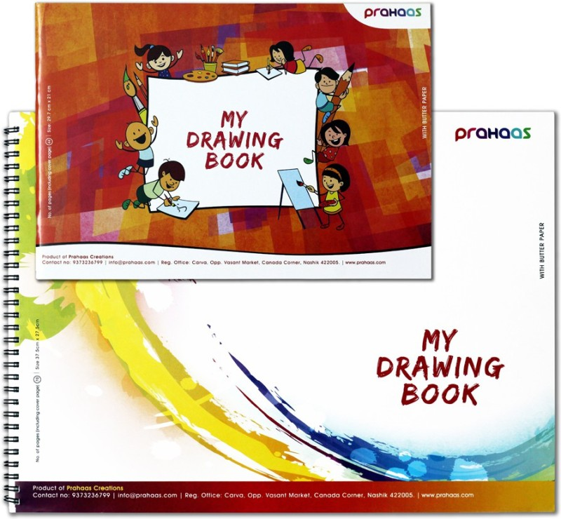 Prahaas Drawing Book With Butter Paper Sketch Pad(Blue, Red, 70 Sheets)