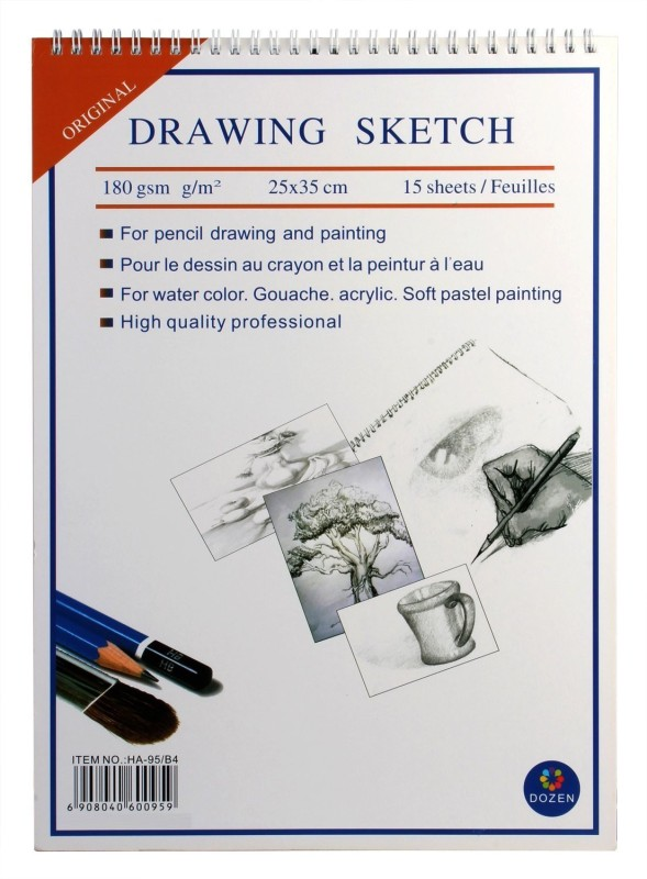 DOZEN Drawing 180 GSM, 15 Sheets Sketch Pad(White, 15 Sheets)