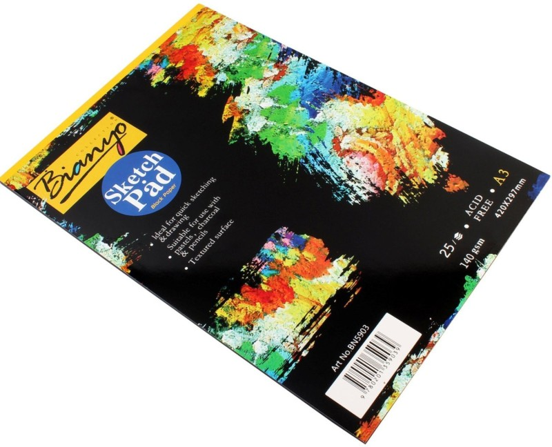 Bianyo Hardback A3, 140 GSM, Black Paper Artist's Drawing Sketch Pad(Black, 25 Sheets)