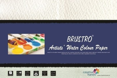 Brustro Artists, Watercolour Papers 300 GSM 12? X 16? Sketch Pad(White, 4 Sheets)
