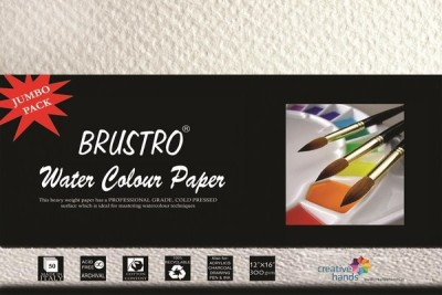 Brustro Water Color Papers 300 gsm 12 x 16 inch Jumbo Pack Sketch Pad(White, 50 Sheets)