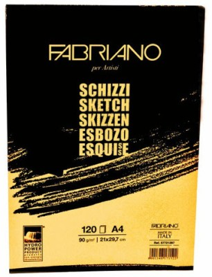 Fabriano Artists, Sketch Glued Block A4 Sketch Pad(White, 120 Sheets)