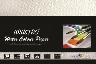 Brustro Watercolour Papers 300 GSM 30CM X 30CM Sketch Pad(White, 8 Sheets)