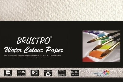 Brustro Watercolour Papers 300 GSM 20CM X 20CM Sketch Pad(White, 20 Sheets)