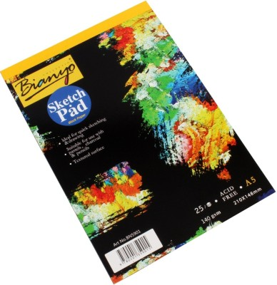 Bianyo Hardback A5 140 GSM 25 Sheets Black Paper Artist's Drawing Sketch Pad