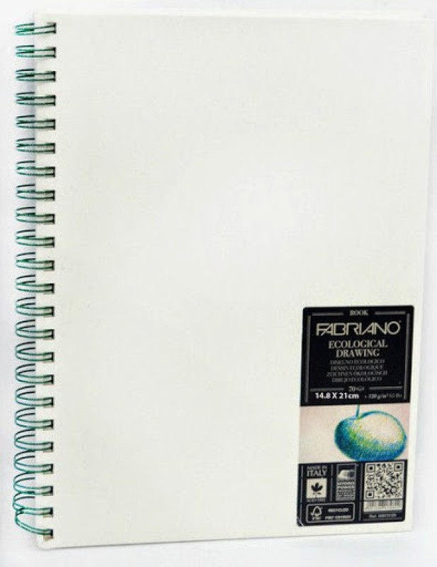 Fabriano Ecological Drawing Book Spiral Bound Portrait A5 Sketch Pad(White, 70 Sheets)