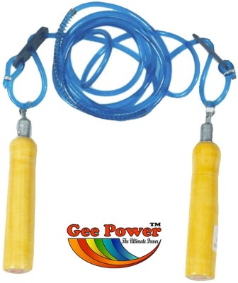 Gee Power Adjustable Wooden Handle Blue Skipping Rope Freestyle Skipping Rope