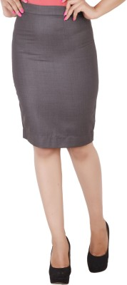 Change360? Solid Women's Pencil Grey Skirt