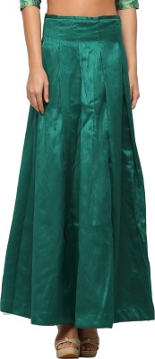 Vodka Fashion India Solid Women's Pleated Green Skirt