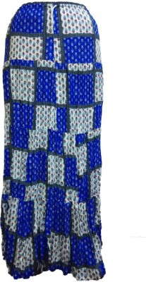 B VOS Self Design Women's Regular Blue, Multicolor Skirt