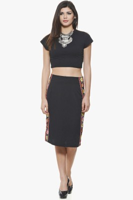 Fugue Printed Women's Regular Black Skirt at flipkart