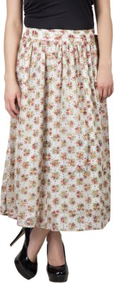 Famous by Payal Kapoor Printed Women's Gathered Beige Skirt