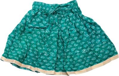 Sunshine Printed Girl's A-line Green Skirt