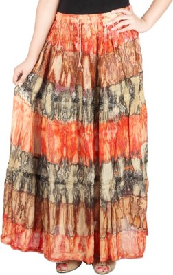 Franclo Floral Print Women,s Gathered Orange, Green Skirt