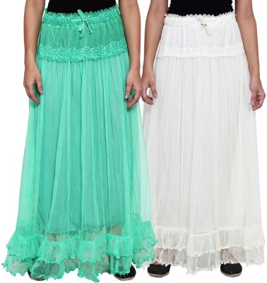 NumBrave Self Design Women's Layered Green, White Skirt
