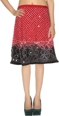 Rajrang Printed Women's Wrap Around Red, Black Skirt at flipkart
