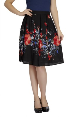 Mineral Floral Print Women's Pleated Black Skirt