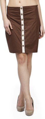Glam and Luxe Solid Women's Pencil Brown Skirt