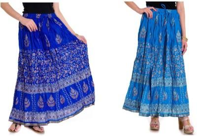 Ooltah Chashma Printed Women's Broomstick Light Blue, Blue Skirt