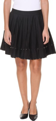 Alibi By INMARK Solid Women's A-line Black Skirt