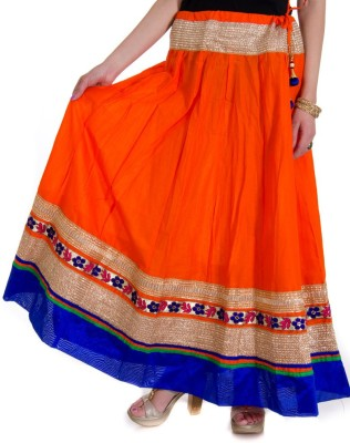 Ooltah Chashma Self Design Women's Broomstick Orange, Blue Skirt