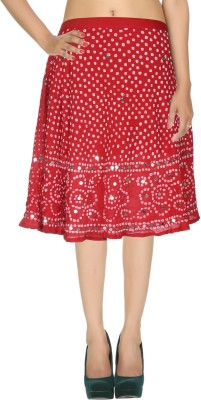 Rajrang Printed Women's Wrap Around Red, White Skirt at flipkart