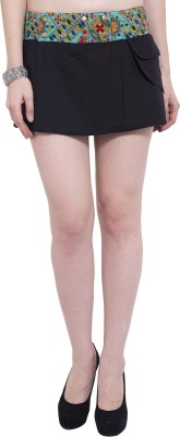 Tuntuk Solid Women's A-line Black Skirt