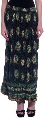 Honeybum Printed Women's Straight Green Skirt