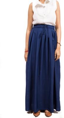 Fadjuice Solid Women's Gathered Dark Blue Skirt