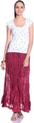 Styleava Solid Women's Regular Maroon Skirt