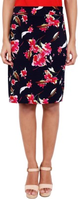 2 Sisters Solid, Floral Print Womens Straight Multicolor Skirt