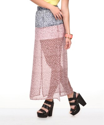 Yepme Animal Print Women's A-line Pink, Blue Skirt at flipkart