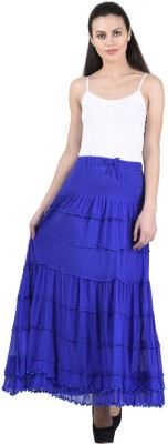 Numbrave Solid Women's Gathered Blue Skirt