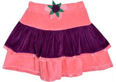 Lil Orchids Solid Girl's Tiered Pink Skirt