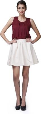 GarrB Solid Women's Peplum Beige Skirt