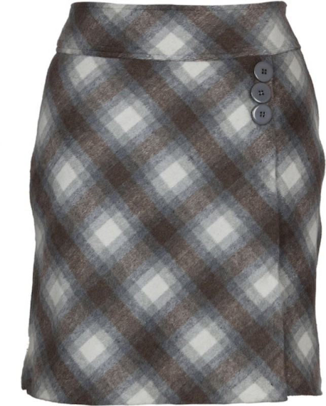 Fabulloso Checkered Women's Pencil Brown Skirt