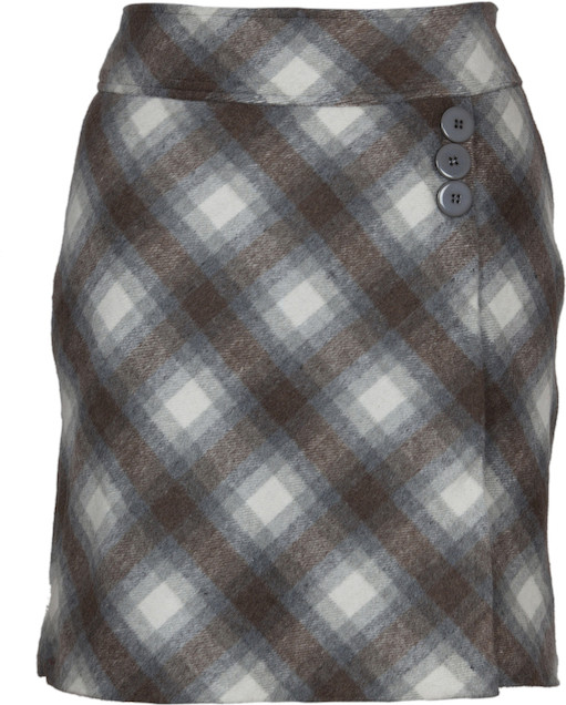 Fabulloso Checkered Womens Pencil Brown Skirt