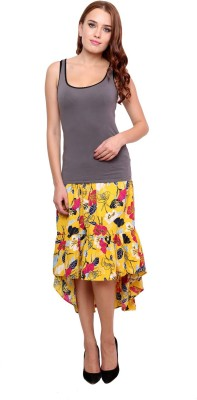 Famous by Payal Kapoor Printed Women's Gathered Multicolor Skirt at flipkart