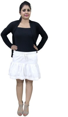 CrazeVilla Self Design Women's A-line White Skirt